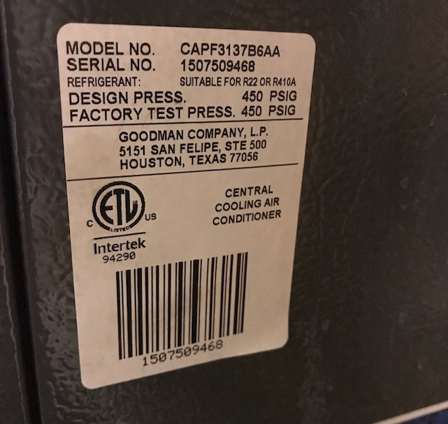Serial number on a furnace